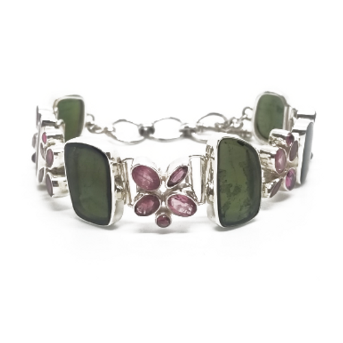 Sterling Silver Green and Pink Tourmaline Bracelet