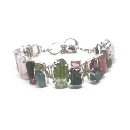 Sterling Silver Multi Tourmaline Bracelet
