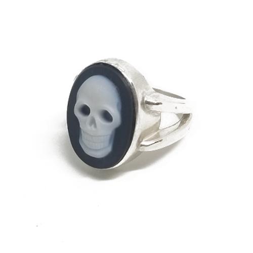 Sterling Silver Blue Agate Skull Ring