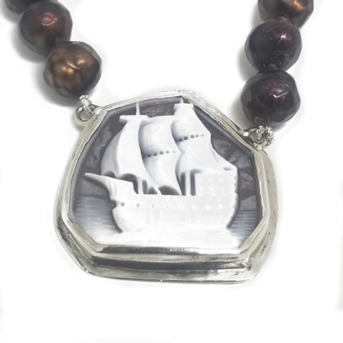 Sterling Silver Sailing Ship Cameo and Pearl Necklace