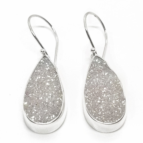 Sterling Silver White Druzy Earrings