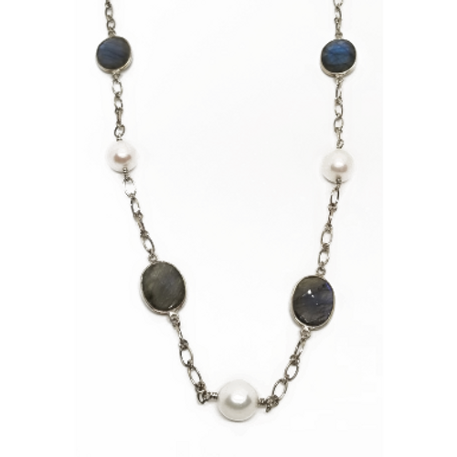 Sterling Silver Long Pearl and Labradorite Necklace