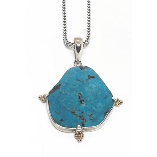 Sterling Silver and 18KY Turquoise Pendant