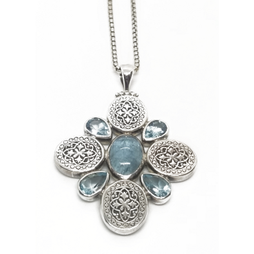 Sterling Silver and Blue Topaz Cabachon Pendant