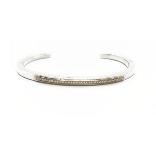 Sterling Silver Solid 14KY and Diamond Cuff