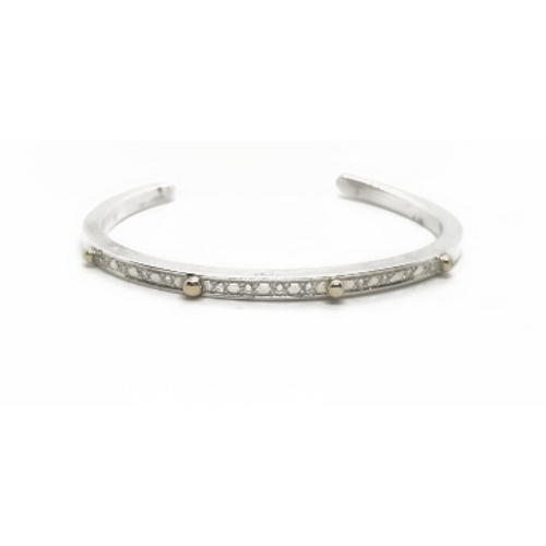 Sterling Silver 14KY and Diamond Cuff