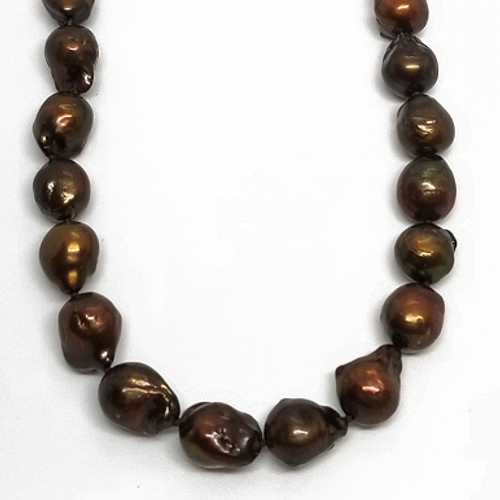 Sterling Silver Bronze Pearl Necklace