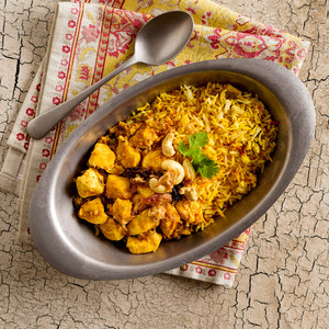 Chicken Biriyani With Rice High Angle