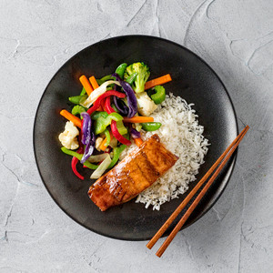 Terikayi Salmon With Stir Fried Vegetables And Rice High Angle