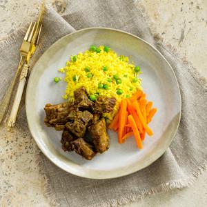 Tandoori Lamb With Rice And Carrots High Angle