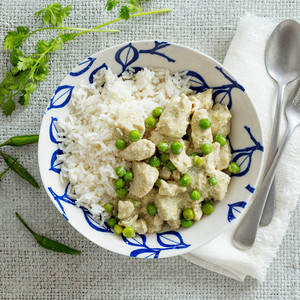 Thai Green Chicken Curry With Basmati Rice High Angle