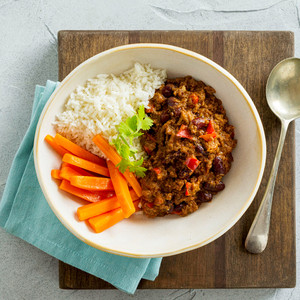 Chilli Con Carne With Rice And Carrots High Angle