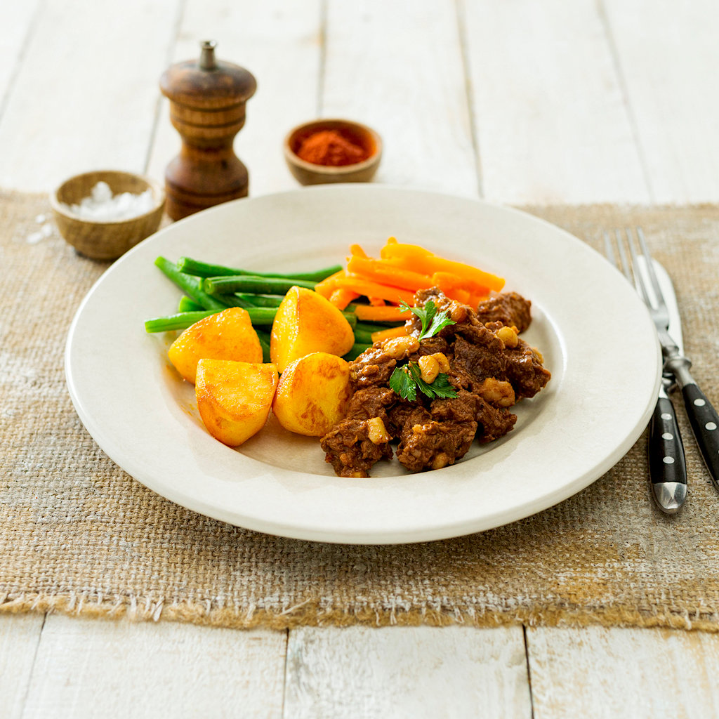 Hickory BQQ Beef With Potatoes, Carrots And Green Beans