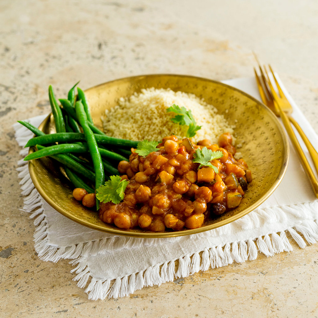 Moroccan Chickpea Curry With Couscous And Green Beans Eye Level