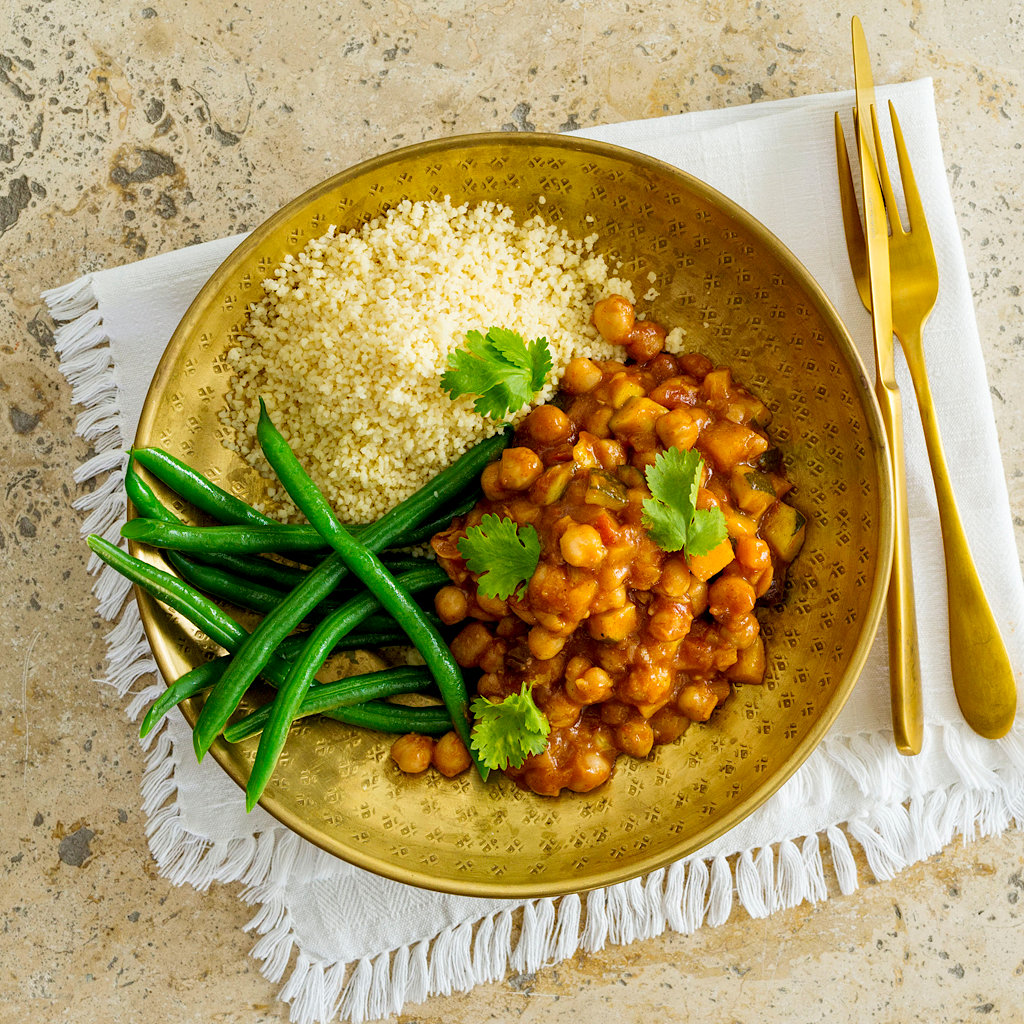Moroccan Chickpea Curry With Couscous And Green Beans High Angle