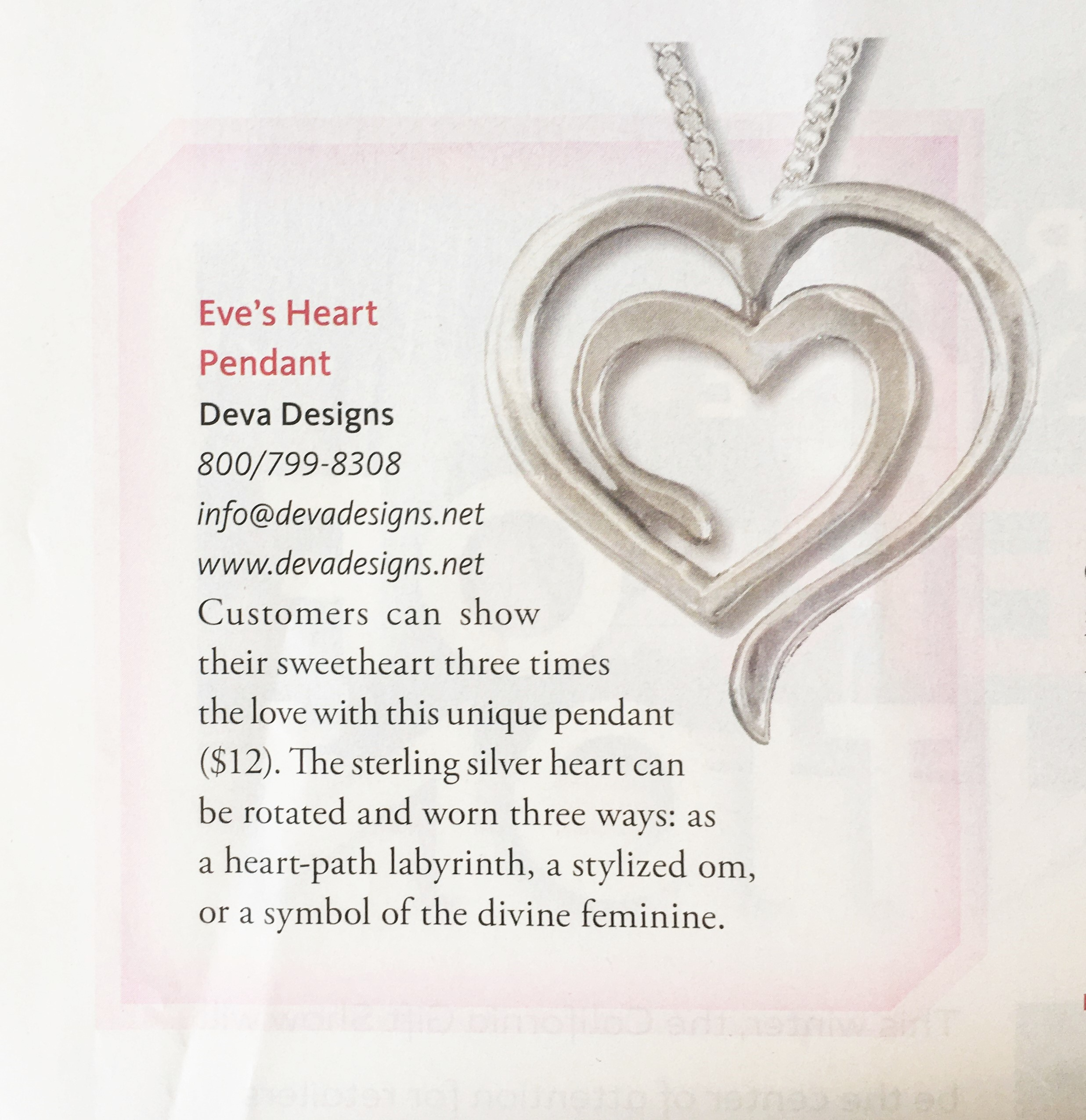 Eve's Heart Pendant featured in Retailing Insight