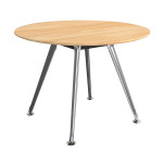 Premier Solid Beech Timber Round Meeting Table Polished Alloy
