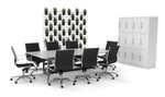 Executive Boardroom Furniture Package - Tables, Chairs, Storage, Vertical Garden - Office Fitout