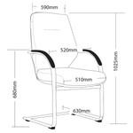 Grand Modern Executive Chair Sled Base - Black PU