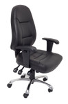 High Back PU Leather Commercial Grade Chair - Black PU