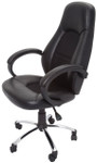 High Back Commercial Grade Executive Chair-Black PU Leather