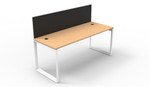 Quick Myraid 1 Person Single Sided Workstation Desk - Loop Leg - With Privacy Screen