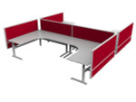 Axle 4 Person L Shaped Electric Height Adjustable Office Workstation Desks