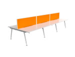 Cosmo 6 Person Office Workstation - Fabric Screens - Double Sided Desks