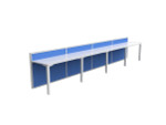 Atelier 4 Person Workstation - Single Sided Desk Runs with Fabric Screen