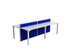 Atelier 4 Person Office Workstation - Double Sided Desks - Fabric Screen