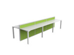 Atelier 6 Person Office Workstation - Double Sided Desks - Fabric Screen