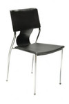 Seroc 4 Leg Stackable Visitor Chair - Black Synthetic Leather