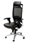Fulkrum 3 High End Executive Office Chair - Black Mesh Leather Back