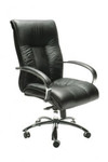 Big Boy  Black Leather Executive Chair - Mid / High Back
