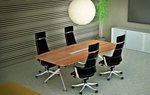 Urban Nature Timber Veneer Conference Room / Boardroom Table - Boat Shape Top