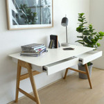 Contemporary Home Office Desk with Solid Oak Legs