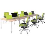 Oblique Height Adjustable 6 Person Back To Back Desk - Soft Maple