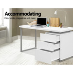 Artiss Metal Office Desk with 3 Drawers Cabinet - Black / White