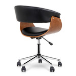 Artiss Wooden Frame PU Leather Office Desk Chair - Black