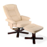 Artiss Beige PU Leather Wood Armchair Recliner Seating