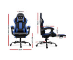 Computer Seating Racer Black & Blue PU Leather Office Chair