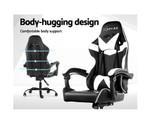 Artiss Black & White Computer Recliner Racer Office Chair