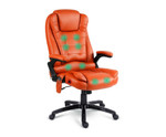 8 Point Amber PU Leather Executive Reclining Massage Chair