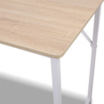 Artiss Minimalist Metal Desk - White with Oak Top