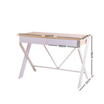 Artiss Metal Desk with Drawer - White with Oak Top - Cross Legs