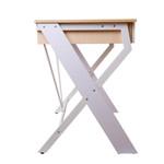 Artiss White/Oak Top Metal Desk with Drawer - Cross Legs