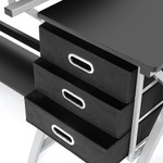 Artiss Adjustable Metal Drafting Table Drawing Desk With Stool - Black and Silver