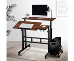 Mobile Dark Wood Twin Laptop Desk