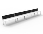 Deluxe Quick Infinity 4 Person Single Sided Desk Runs with Screens - Profile Leg
