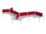 Axle Office Desks For 9 People - 120 Degree Workstations